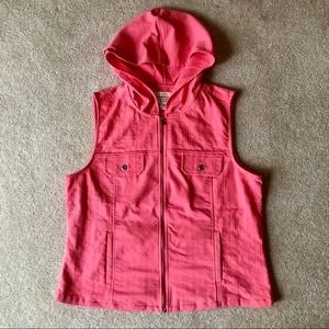 EUC | Christopher & Banks Coral Pink Hooded Vest